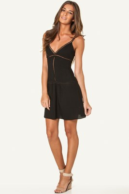 Solid Black Trim Short Dress