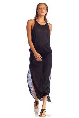 Solid Black Island Maxi Dress