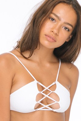 Solid White Hapa Lace Up Top