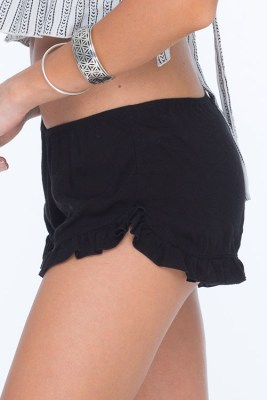 Solid Black Thyme Ruffle Short SIDE