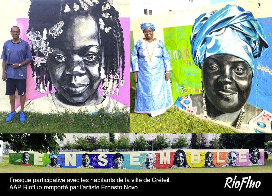Fresque participative avec les habitants de la ville de Créteil. Appel à projet Riofluo remporté par l'artiste-Ernesto Novo