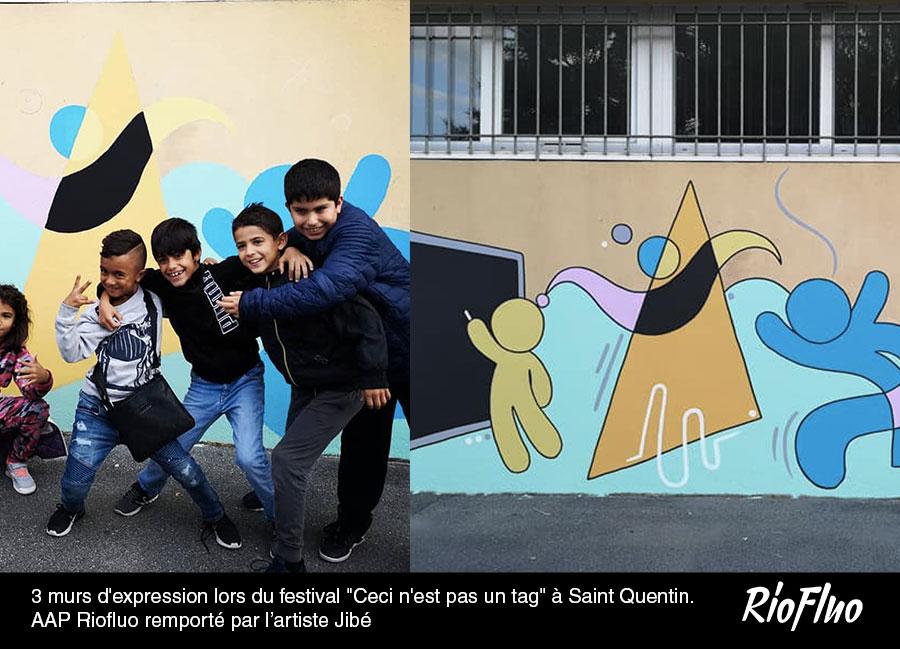 """3 murs d'expression lors du festival """"Ceci n'est pas un tag"""" à Saint Quentin. AAP Riofluo remporté par l'artiste Jibé"""