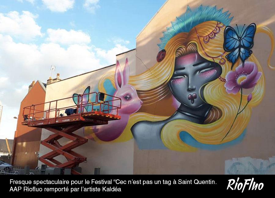 """Fresque spectaculaire pour le Festival """"Cec n'est pas un tag à Saint Quentin. AAP Riofluo remporté par l'artiste Kaldéa"""