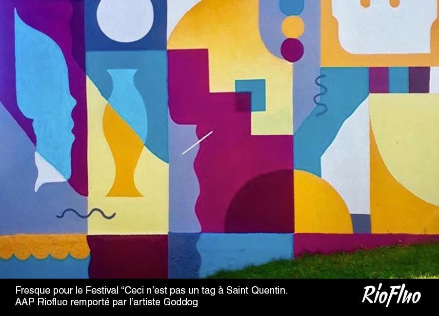 """Fresque pour le Festival """"Ceci-n'est-pas-un-tag-à-Saint-Quentin. AAP remporté par l'artiste Goddog grâce à RiofluoFresque pour le Festival """"Ceci-n'est-pas-un-tag-à-Saint-Quentin. AAP remporté par l'artiste Goddog grâce à Riofluo"""