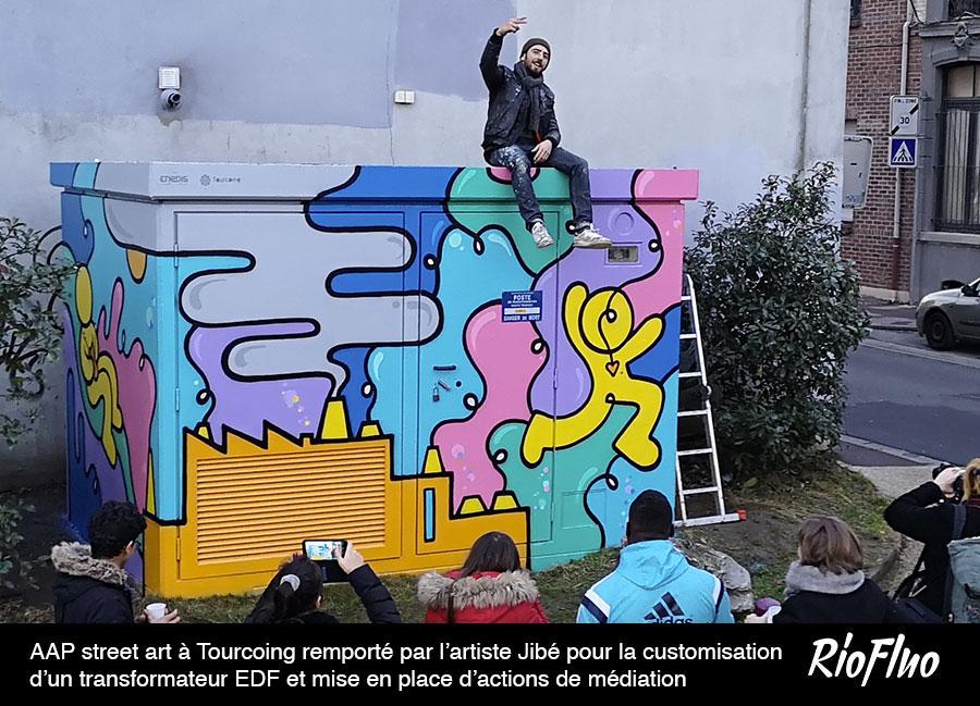 Easyaap! AAP street art à Tourcoing remporté par l'artiste Jibé pour la customisation d'un transformateur EDF et mise en place d'actions de médiation
