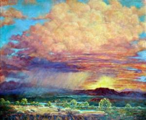 Big pink sky painting