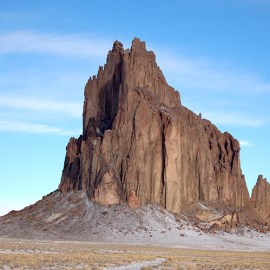Photo of Shiprock by Bowie Snodgrass for article by the Rio Grande Sierra Club on the health impacts of oil and gas in the four corners