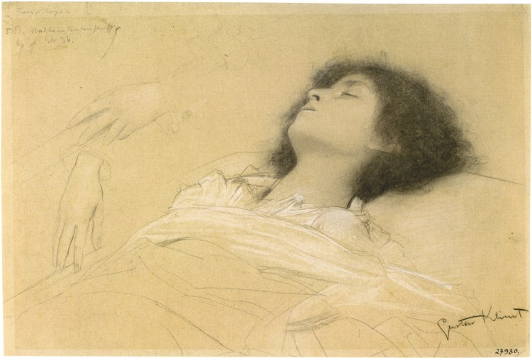 Gustav Klimt: Reclining Girl (Juliet) and Two Studies of Hands, 1886–1887