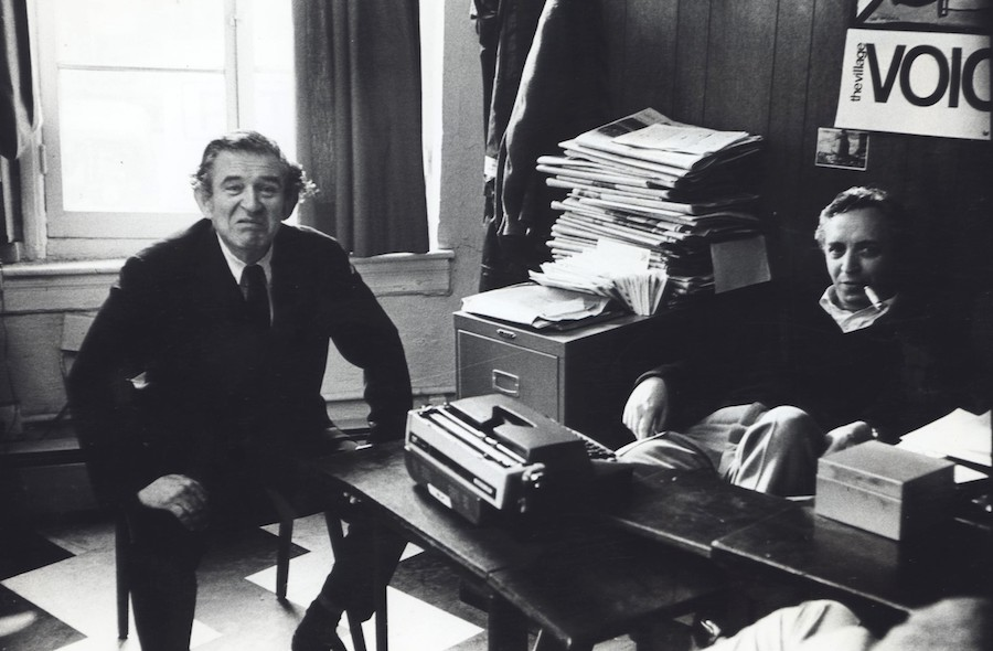 Fred W. McDarrah: Editor Dan Wolf with author and fellow Village Voice co- founder Norman Mailer in the Voice's offices, 61 Christopher Street, New York City, April 14, 1964