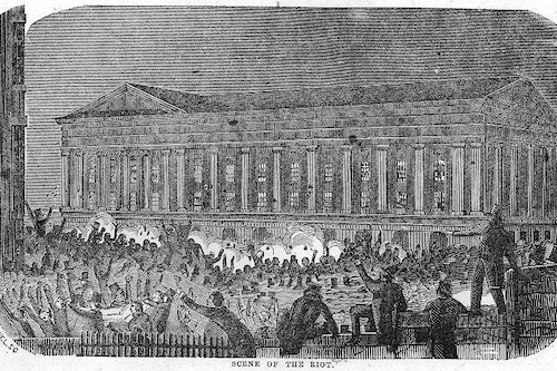 The Riot at Astor Place Opera House, 1849, discussed as part of the History of Theater, at Riot Material Magazine.