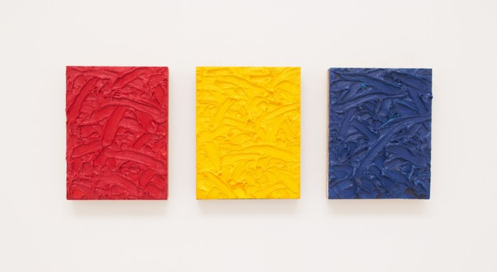 James Hayward Red/Yellow/Blue Ratio Triptych #2. The Weight of Matter, a group exhibition at Roberts Projects, Los Angeles, is reviewed at Riot Material magazine.