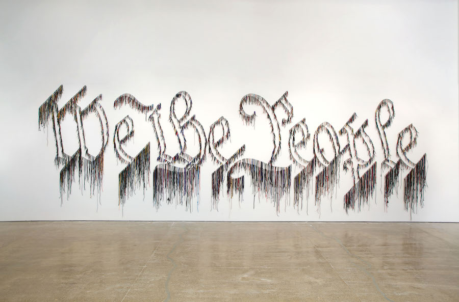 """Nari Ward, """"We the People."""" Ward's exhibition, We The People, is reviewed at Riot Material Magazine."""