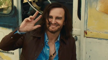 Damon Herriman as Charles Manson in Once Upon a Time In...Hollywood, reviewed at Riot Material magazine.