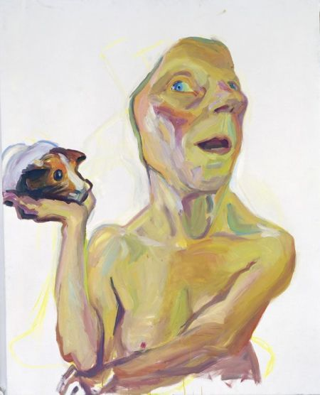 Maria Lassnig's Self with Guinea Pig. At Riot Material, LA's premier magazine for art.