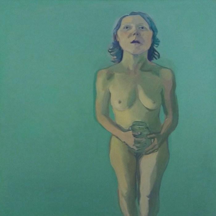 Maria Lassnig's Self portrait with Pickle Jar. At Riot Material, LA's premier magazine for art.