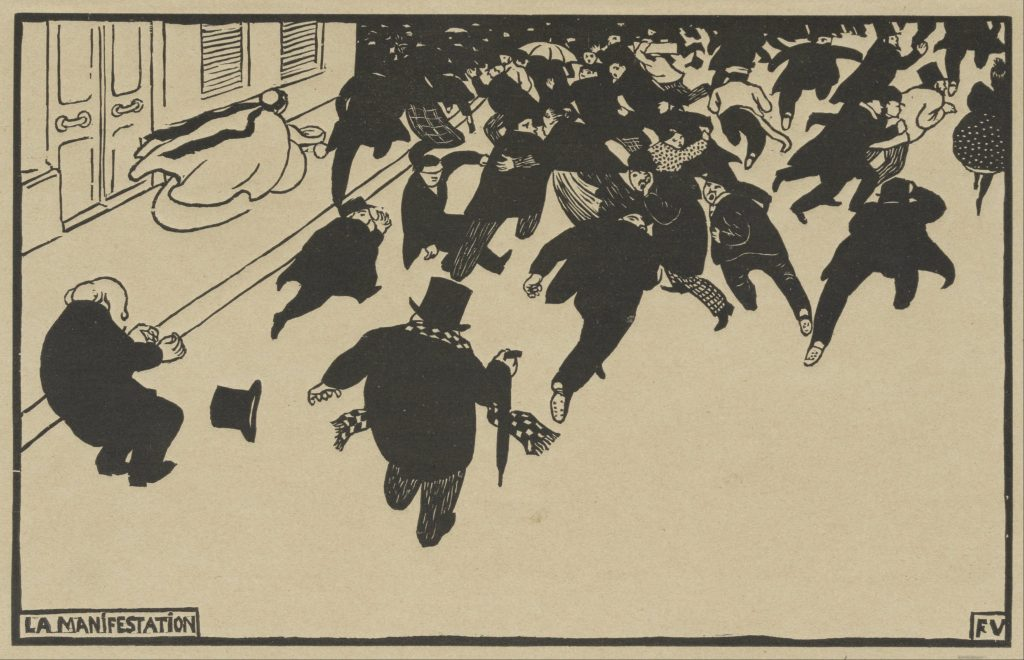 """Félix Vallotton, La Manifestation, 1893. The Met's """"Painter of Disquiet is reviewed at Riot Material magazine."""