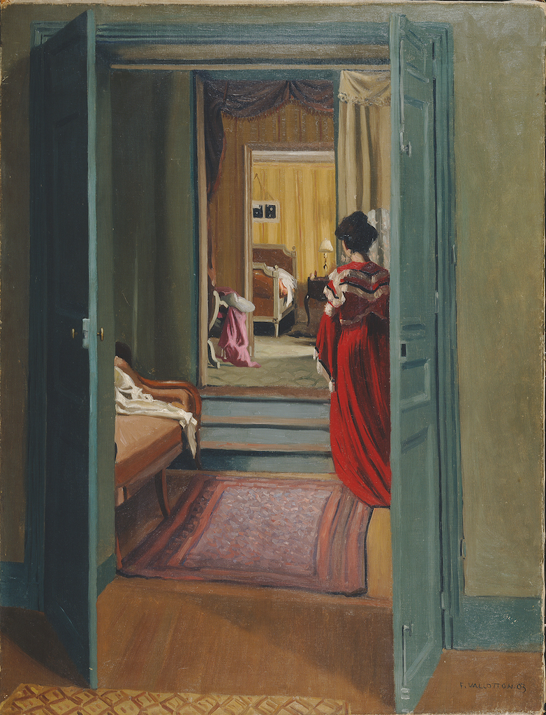 """Félix Vallotton, Interior with Woman in Red, 1903. The Met's """"Painter of Disquiet is reviewed at Riot Material magazine."""