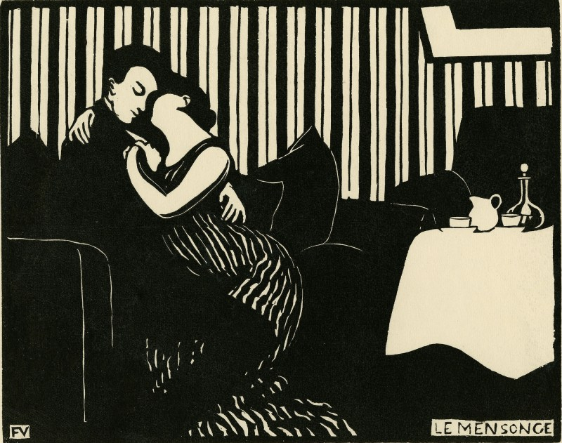 """Félix Vallotton, The Lie (Intimités: I), 1897. The Met's """"Painter of Disquiet is reviewed at Riot Material magazine."""