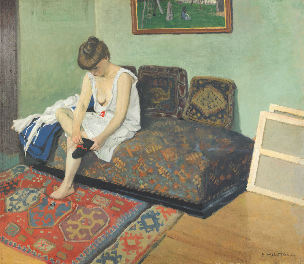 """Félix Vallotton, Model Sitting on a Divan in the Studio, 1904. The Met's """"Painter of Disquiet is reviewed at Riot Material magazine."""
