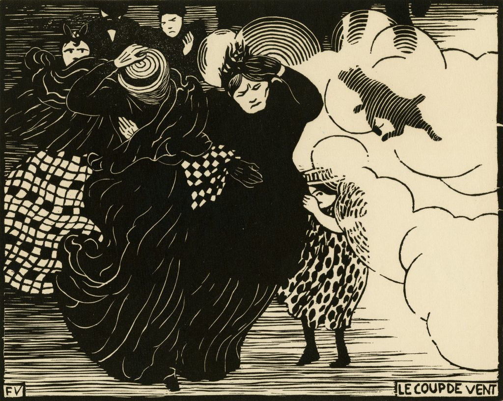 """Félix Vallotton, The Gust of Wind (Le Coup de vent),1894. The Met's """"Painter of Disquiet is reviewed at Riot Material magazine."""