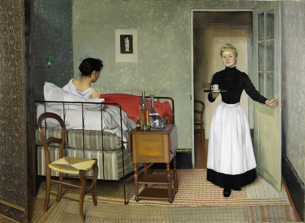 """Félix Vallotton, The Sick Girl, 1892. The Met's """"Painter of Disquiet is reviewed at Riot Material magazine."""