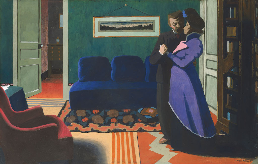 """Félix Vallotton, The Visit, 1899. The Met's """"Painter of Disquiet is reviewed at Riot Material magazine."""