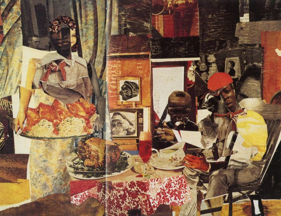 """The Evening Meal of Prophet Peterson(1964). Two books on Romare Bearden, """"An American Odyssey: The Life and Work of Romare Bearden"""" and """"The Romare Bearden Reader"""" are reviewed at Riot Material Magazine"""