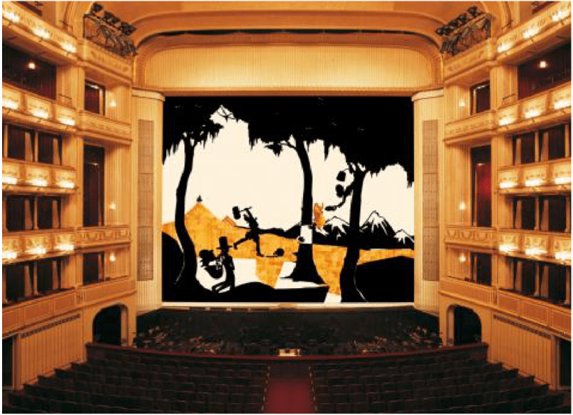 Kara Walker's Eiserner Vorhang (Safety Curtain), 1998-1999, at Vienna State Opera for the 1998/1999 season