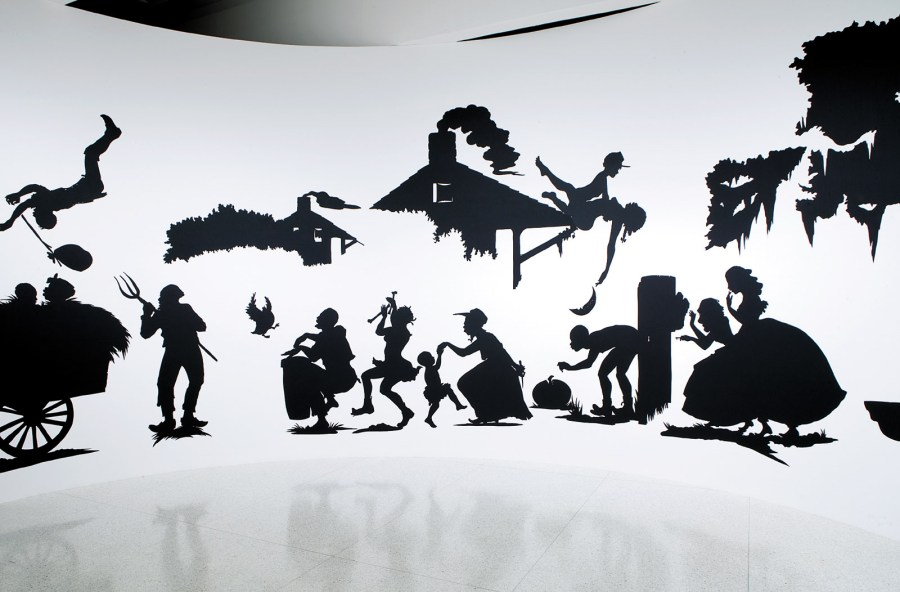 "Kara Walker: Slavery! Slavery! Presenting a GRAND and LIFELIKE Panoramic Journey into Picturesque Southern Slavery or 'Life at ""Ol' Virginny's Hole"" (sketches from Plantation Life)' See the Peculiar Institution as never before! All cut from black paper by the able hand of Kara Elizabeth Walker, an Emancipated Negress and leader in her Cause, 1997"