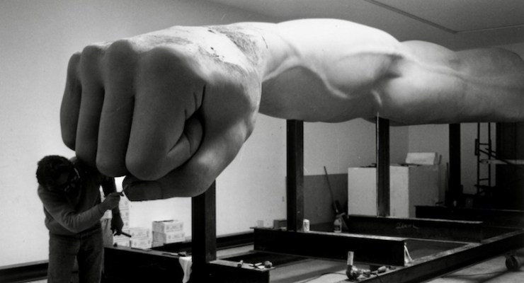 """The Monument to Joe Louis, aka """"The Fist,"""" as sculpted by Robert Graham"""