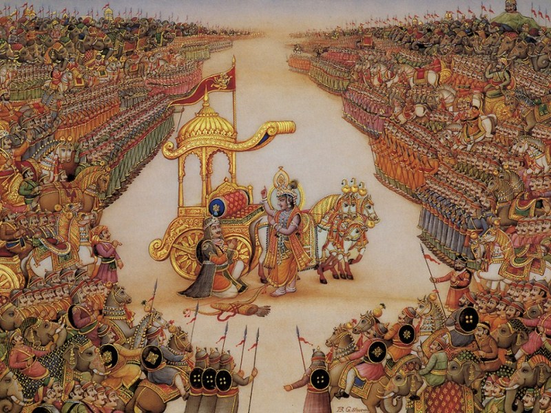 Arjuna and Krishna holding a dialogue in the battlefield between the Pandava and Kaurava armies.