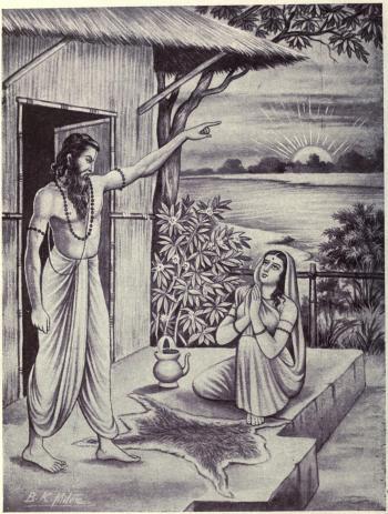 Jaratkaru abandons his wife Manasa, depiction of the Mahabharata scene