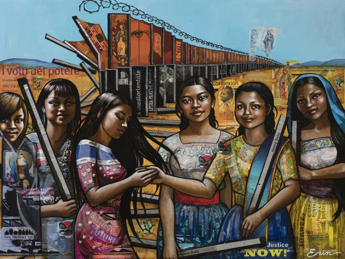 Erin Currier, American Women (Dismantling the Border) VI (After Raphael). Read the interview with Erin excerpted from Lisette Garcia's new book, Ponderosas, at Riot Material.