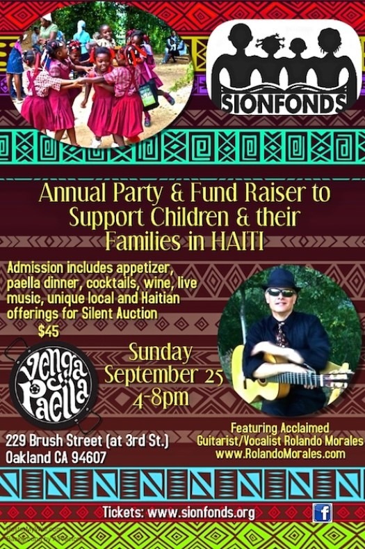 Rolando Morales performing Sionfonds Fundraiser for Haiti Families at Paella Venga on Sunday, September 25, 2016