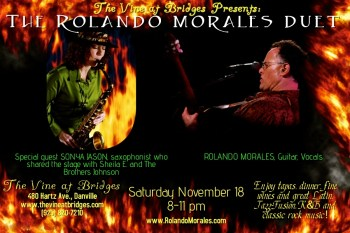 Rolando Morales and special guest, Susan Jason, will perform at The Vine at Bridges November 18, 2017