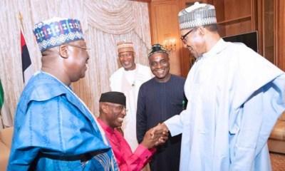 Omo-Agege kneeling to greet Buhari very sad –Omokri, others