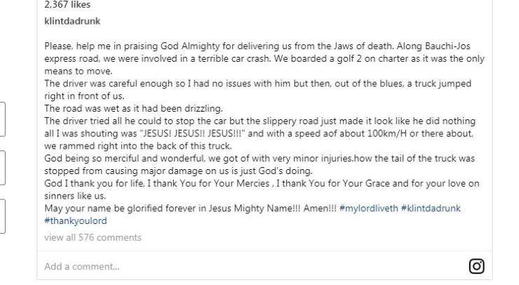 Comedian Klint da Drunk survives near-fatal auto crash