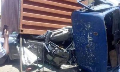 3 men survive ghastly auto accident after container fell on car they were travelling in