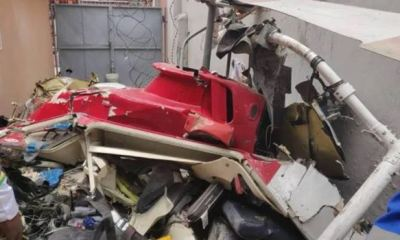 BREAKING… Helicopter crashes into building in Ikeja, Lagos. Two feared dead