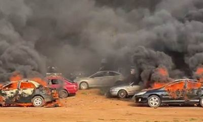 Hoodlums attack #EndSARS protesters, set cars ablaze in Abuja