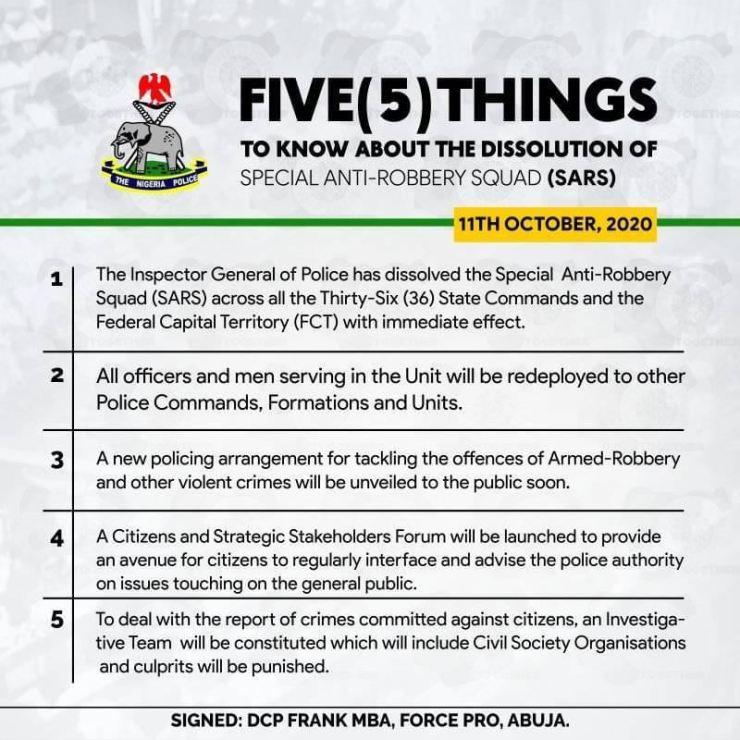 SARS DISBANDED: Five major things IGP Adamu said