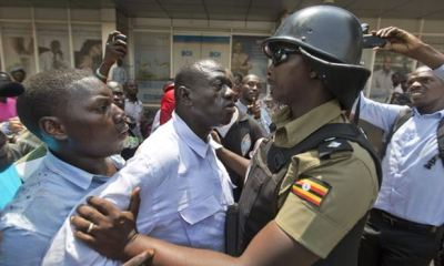 Protesters clashing with police in Kampala, Uganda