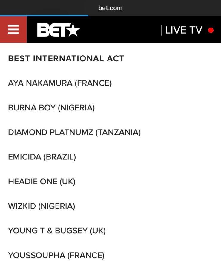 Burna Boy, Wizkid nominated for 'Best International Artiste' at 2021 BET Award