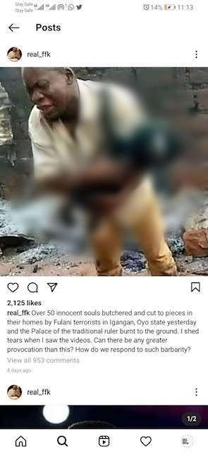 FACT CHECK...Did Fulani kill 50 people in Oyo State, as shared by Fani-Kayode?