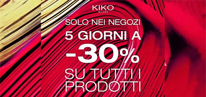 Kiko: 30% di sconto su tutti i prodotti