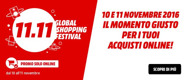 Media World Global Shopping Festival: spedizione gratuita ordini > 100 Euro – 30 Euro di buono per ordini > 300 Euro