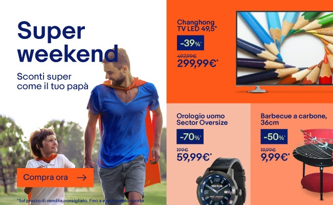 eBay Super Weekend: Converse AllStar 34€ – iPhone 7 da 599€ – iPhone SE da 399€ – Smart TV 40″ 249€ – Stan Smith 49€ (agg. x3)
