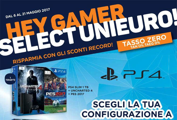"Nuovo volantino Speciale Games Unieuro ""Hey Gamer"": PS4 1TB + DS4 + Gioco a 299€"