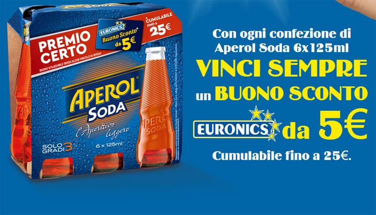 Buono sconto Euronics da 5 Euro con Aperol Soda