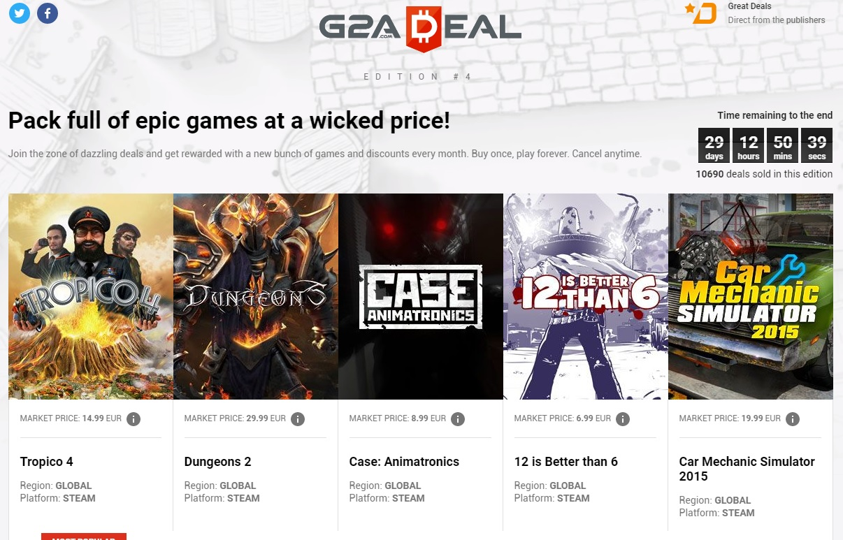 G2ADeal #04: Tropico 4, Dungeons 2, Case: Animatronics, 12 is Better than 6, Car Mechanic Simulator 2015 da 2,49 Euro